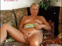 dildo blonde tattoo mature masturbation solo granny