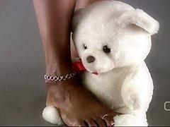 Darla Tv - Darla Tramples Teddy Bear With Sexy Ebony Feet