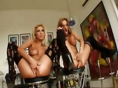 blonde lesbians fisting pussy footjob