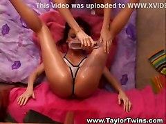 lesbian bikini brunette tattoo oil teasing twins