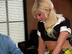 stockings schoolgirl blonde pigtails teacher teen pornstar small tits ass kissing pov blowjob deepthroat rubbing masturbation close up tight riding hardcore doggystyle ass licking pussy pussylicking couch office cumshot facial reality