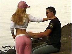 blonde striptease teasing hardcore outdoor public blowjob riding doggystyle cumshot facial tight teen