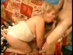 mature blowjob handjob blonde chubby fat cumshot facial