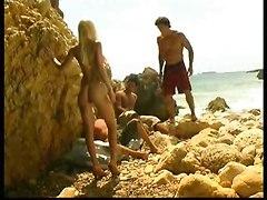 Celia Blanco Takes On Three Cocks At The Beach