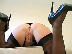 stockings milf fingering masturbating bigtits solo mom housewife playing beauty masturbates