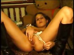 Teen in boots blows and masturbates