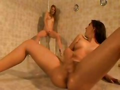 tight teasing fingering big tits brunette bathroom squirting wet shower