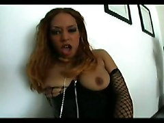 dildo black boots ebony fishnet masturbation solo blackwoman corset
