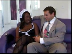 stockings cum facial black fucking blowjob uniform ebony maid
