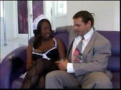 stockings cum facial black fucking blowjob uniform ebony maid