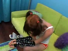 teen blowjob doggystyle skinny redhead young pigtails pussyfucking socks pigtail