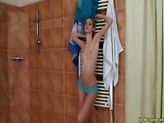 Nude teen gymnast in shower