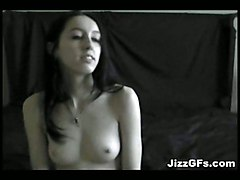 small tits brunette blowjob handjob couple amateur homemade panties teasing piercing tattoo