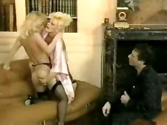 ffm vintage retro classic big tits blonde stockings lingerie pussylicking threesome riding doggystyle double blowjob voyeur panties facial lesbian cumshot