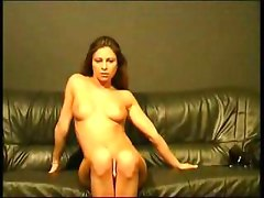 Pussy pounded with golden dildo