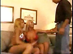 threesome shemale blonde suck 69 pose