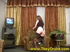 stockings brunette solo teasing drunk softcore