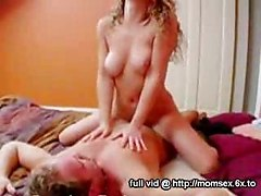 Very horny mom and daughter pornstars one sucks and another sits on mans face
