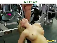 pussy milf blowjob shaved oral gym lifting weight
