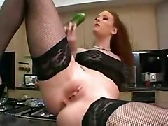 anal stockings cumshot facial dildo food redhead kitchen asstomouth vegetable insertion veggie
