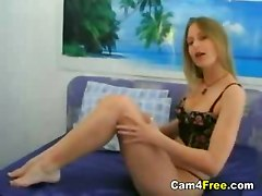 Blonde shows her feet