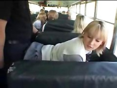 Blonde School Girl and Asian Guy in The Bus