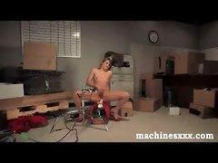 machine toy dildo vibrator masturbation fetish anal brunette babe small boobs tits hairy hirsute