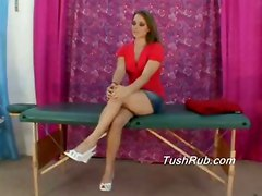 Ass massage tushy butt oil rub hot female chicks babes upskirt peekaboo lesbian