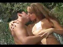 outdoor blowjob fingering bikini licking