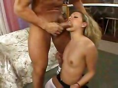 Mom teaches tiny titties daughter how to suck cock