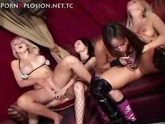 Four Lesbians Having Fun Together
