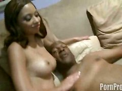 big tits blowjob deep throat big dick threesome ebony