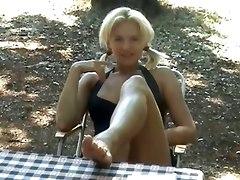 blonde footjob handjob cumshot POV