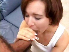 cumshot facial hardcore interracial blowjob brunette shaved threesome pussyfucking