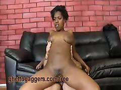 Afro Pussy Rides Two White Dicks