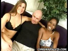 Cum Swapping Ebony Threesome Group Doggystyle Blowjob Cumshot Swallow