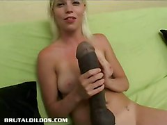 dildo blonde tattoo shaved toy toys smalltits masturbation solo dildos