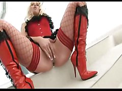 blonde interracial creampie blowjob fishnet pussyfucking