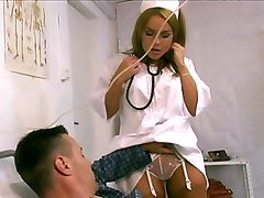 doctor  nurse  hospital  stockings  uniform  european  blonde  glasses  patient  moan  lingerie  white lingerie  hairstyle  blowjob  lights  decorations  clothes off  beautiful  sexy  hot  face  from behind  standing position  anal  cock ride  facial