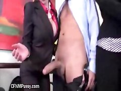 Hot MILF Gives Handjob During A Meeting