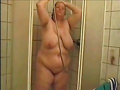 German Bbw Astrid  Takes A Shower And Rubs Pussy