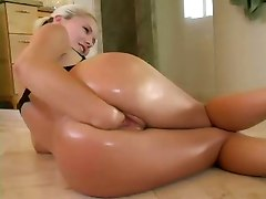 blonde solo fisting shaved pussy