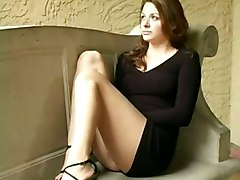 dildo brunette clothed masturbation solo