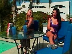 brunette pool outdoor public latex milf teasing kissing foot fetish close up rubbing fingering pussylicking spanking double vaginal dildo ass big tits toys lesbian