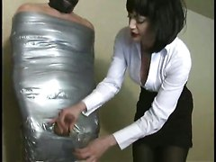 Femdom Handjob Milking Slave Encased Ducktape Mistress CumCum BJ HJ Other Fetish Bizarre