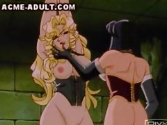Blonde with big tits is in chains  while being fondled by a dominatrix   She gets whipped and then electrically stimulated  while another slave willing sucks a man s big cock
