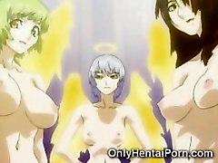 A group of toon futanari angels fuck a young virgin in an initiation ritual