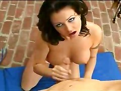handjob outdoor brunette big boobs cock