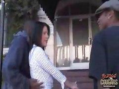 Busty Brunette MILF gets gangbanged by balcks
