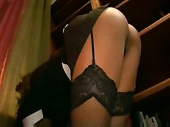 stockings fucking uniform glasses fishnet lingerie costume maid nylons garter